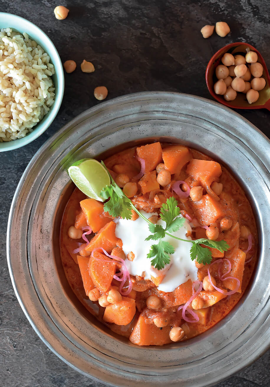 Photo of Chickpea and Sweet Potato Curry with Goat Milk Yoghurt