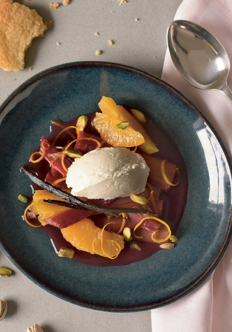 Photo of Poached Rhubarb and Orange with Pistachios and Goat Curd