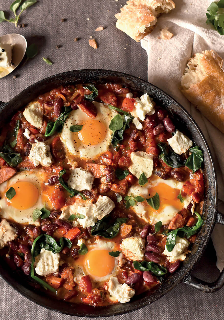 Photo of Shakshuka with Kidney Beans and Marinated Goat Cheese